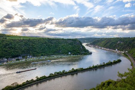 Rhine valley Landscape and Sankt Goarshausen view from the Loreley rock Travel Germany