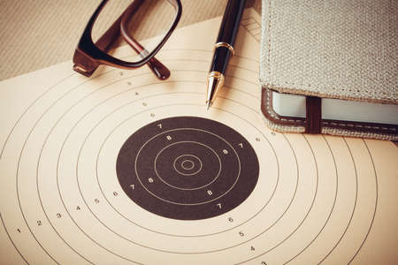 Photo pour Goal setting with target, objectives and planning concept, top view - image libre de droit