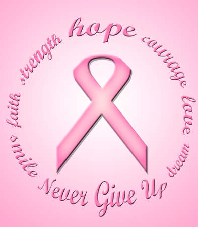 A pink ribbon in a circle formed of words in support of breast cancer