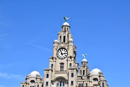 Royal Liver Building Clock tower & Liver Birds with blue sky