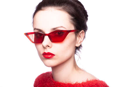 Photo for girl in red, red sweater, red glasses, red lipstick - Royalty Free Image