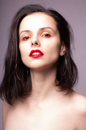 Photo for elegant woman bare shoulders, clean skin, red lips - Royalty Free Image