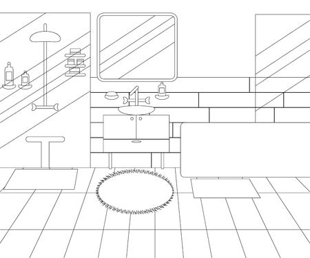 Illustration for Vector Line Illustration of Interior of Bathroom with Furniture. Whire and Black Outline Sketch of Home Related. Vector Design in Line Art Style. Design of Modern Interior of Bathroom - Royalty Free Image