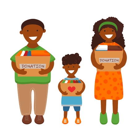 Illustration for Vector Illustration of African Family of Volunteers are Holding Donation Boxes. Concept of Clothes Donation. Social Care and Charity Concept - Royalty Free Image