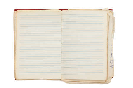 Photo pour open old notebook isolated on white - image libre de droit
