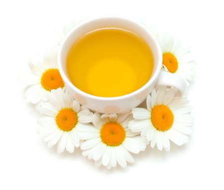camomile tea isolated on white
