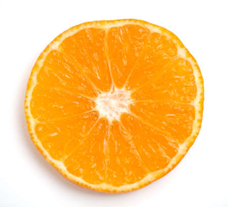 slice of orange closeup on white background