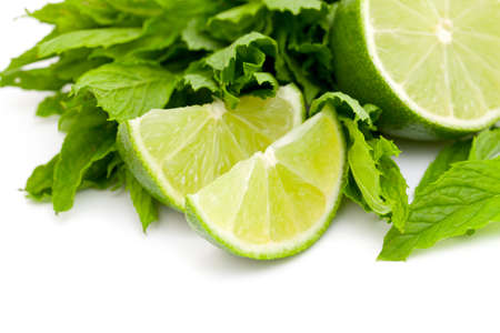 lime and mint isolated on white