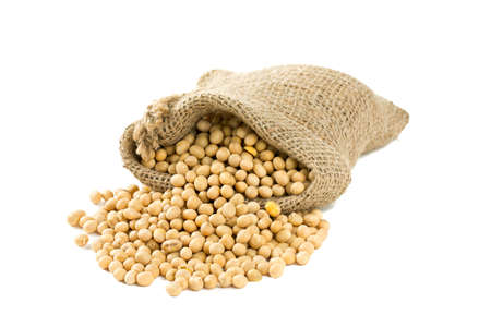 soya beans in a bag isolated on white