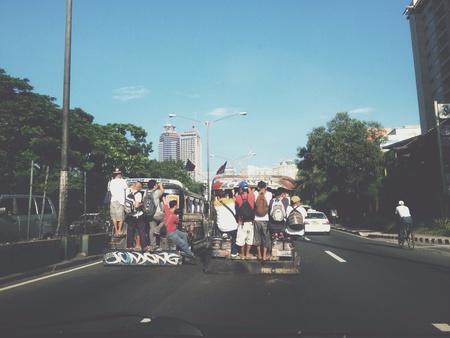 Jeepney hanger of people