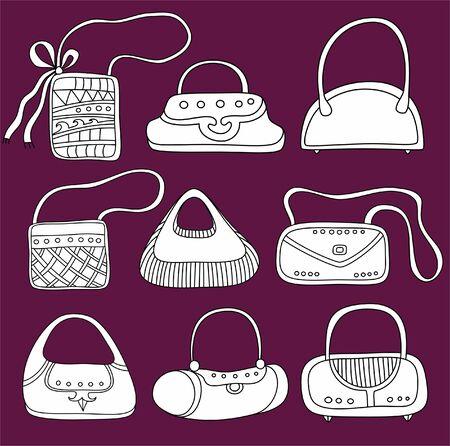 Illustration pour A set of  purses. Cute different shapes and prints. - image libre de droit