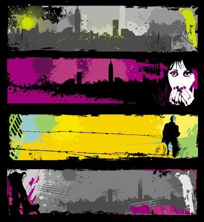 Illustration pour Grunge stylish urban banners.  - image libre de droit
