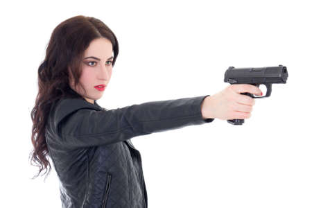young beautiful woman shooting with gun isolated on white background