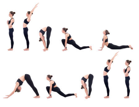 beautiful slim woman in yoga sun salutation sequence poses isolated on white background