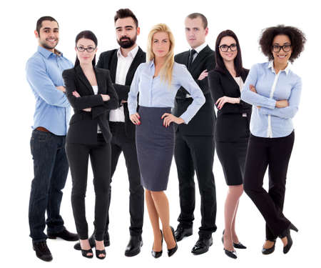 Photo pour young successful business people in business suits isolated on white background - image libre de droit