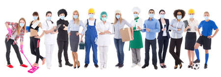 Photo pour coronavirus, pandemic, health care and unemployment concept - set of different people in protective mask isolated on white background - image libre de droit