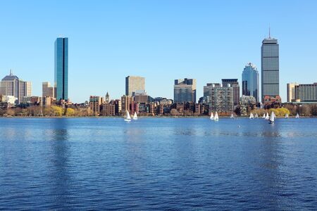 Boston skyline from Cambridge over the Charles River, Massachusetts, USA