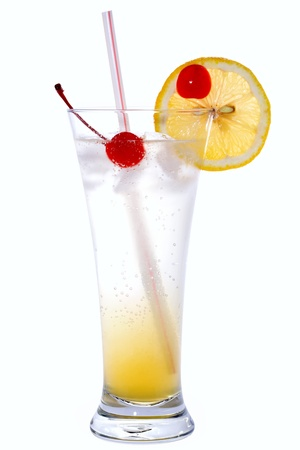 Tom Collins Cocktail isolated on white