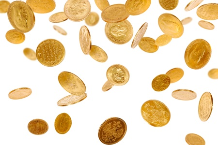 Old gold coins isolated on white background