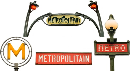 Set of metro signs  Isolated on white in Paris, France