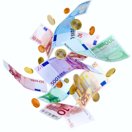 Falling Euro banknotes and coins isolated on white