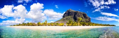 White sand beach and Le Morne Brabant mountain Mauritius