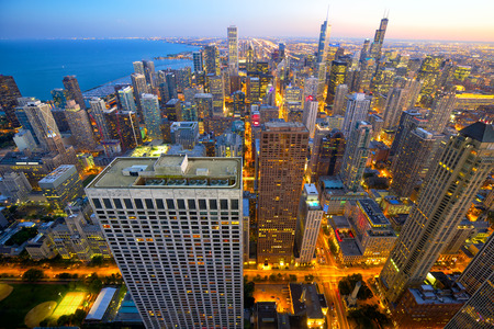 Aerial view of Chicago at dusk IL USA