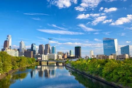 Downtown skyline and Schuylkill River in Philadelphia, Pennsylvania, USA