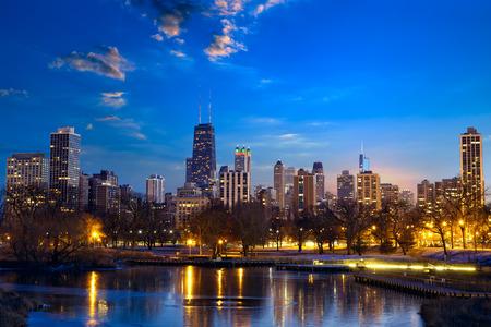 Chicago skyline at dusk IL United States