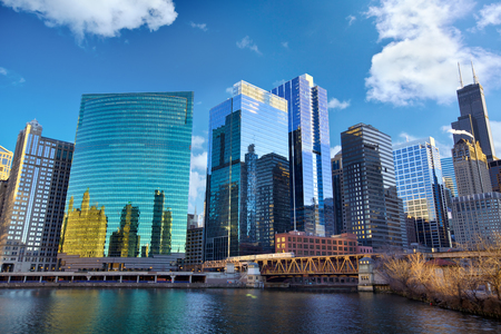 Chicago Loop skyline and Chicago River, IL, United States