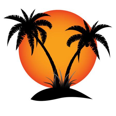 Illustration pour Palm trees silhouette with sun on tropical island - image libre de droit