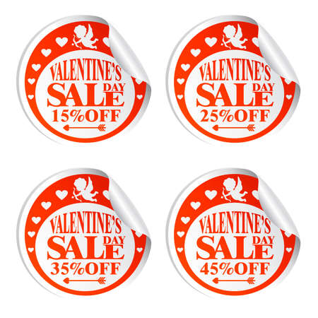 Illustration pour Valentine's Day sale stickers with Cupid 15,25,35,45 percent off.Vector illustration - image libre de droit