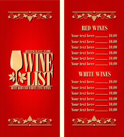 Illustration pour Best red and white fine wines. Vintage wine list long menu. Red background. Vector illustration - image libre de droit