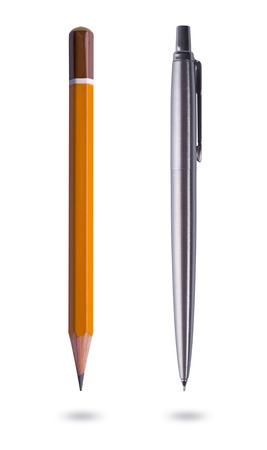 Photo pour Pen and pencil on white background - image libre de droit