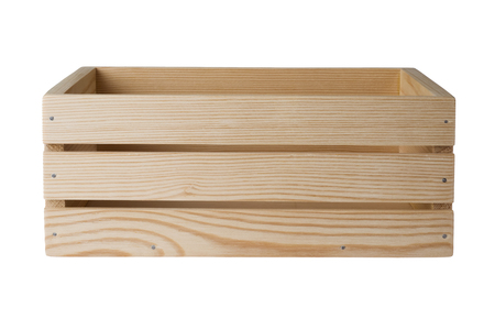 Photo pour Wooden crate isolated on white background, side view - image libre de droit