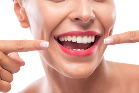 Photo for Shining white teeth and a beautiful smile for maintaining good oral hygiene - Royalty Free Image