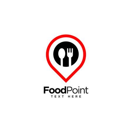 Illustration pour Food point, food and restaurant logo,vector logo template - image libre de droit