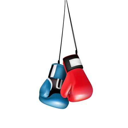 boxing gloves hanging isolated on white