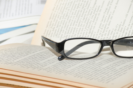 Foto per book with glasses - Immagine Royalty Free