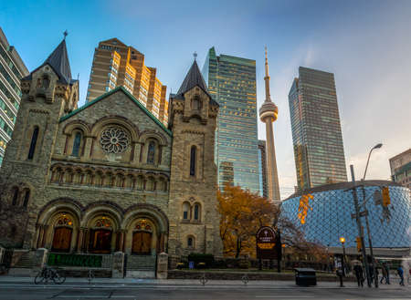 Panoramic view of St Andrew's Presbyterian Church and CN Tower - Toronto, Ontario, Canada