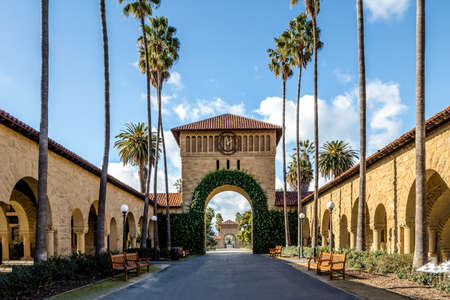 Gate to the Main Quad at Stanford University Campus - Palo Alto, California, USA