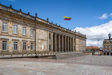 Colombian National Capitol and Congress situated at Bolivar Square - Bogota, Colombia