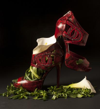 Zapatos rojos de cuero de vibora, estilo sandalia con los dedos abiertos y tacos muy altos, rellenos con tallos, hojas y flores de cartucho