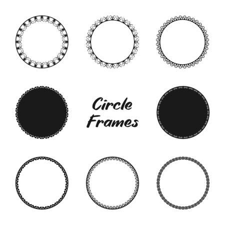 Illustration pour Simple Decorative Circle Frames Set. Elements for design card, badge, stamp, and more. Round Frames. - image libre de droit