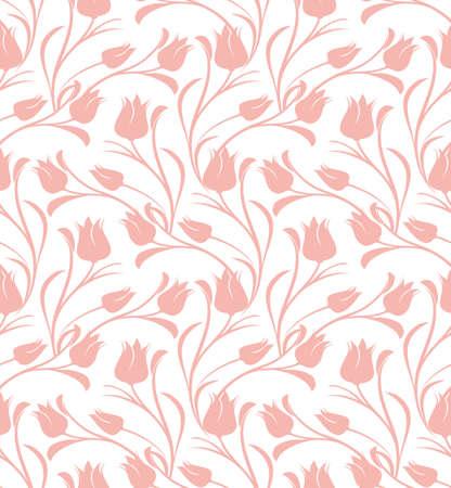 Illustration pour Tulips floral seamless pattern. - image libre de droit