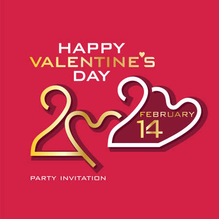 Happy Valentine's Day. 2020. Gold and white on purplish red. Stylish vector logo Valentines Day 2020 with a zeros in the shape of heart.