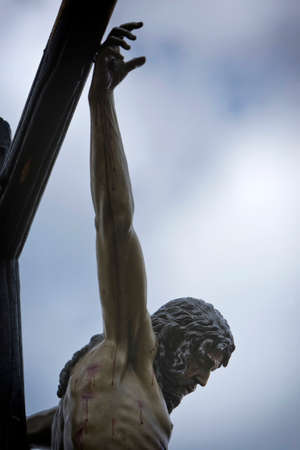 Figure of Jesus on the cross carved in wood by the sculptor Alvarez Duarte, Holy Christ of the Estudiantes, Linares, Jaen province, Spain