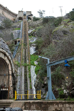 Infrastructure for transporting the stones for the construction of the dam of the Jandula near Andujar, Sierra Morena, province of Jaen, Spain