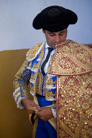 The spanish bullfighter Francisco Rivera getting dressed for the paseillo or initial parade. Taken at Villanueva del Arzobispo bullring before a bullfight, Jaen province, Spain, 9 september 2011