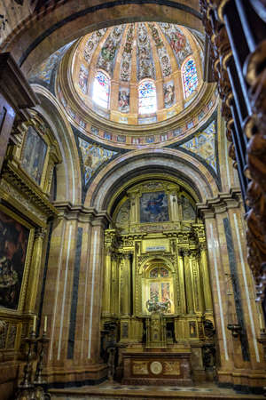 CUENCA, SPAIN - August 24, 2016: Interior of the Cathedral of Cuenca, Chapel of Nuestra Señora del Sagrario, was erected between 1.629 and 1655 as proyecto de el arquitecto Fray Alberto de la Madre de Dios, shaped plant Greek cross and skylight Dome, the